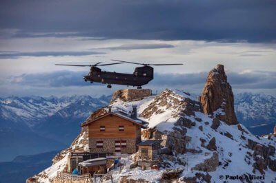 A Boeing ICH-47F Chinook conducts a pinnacle landing at Rifugio Torre di Pisa, in Predazzo, Italy. Photo submitted by Paolo Alfieri