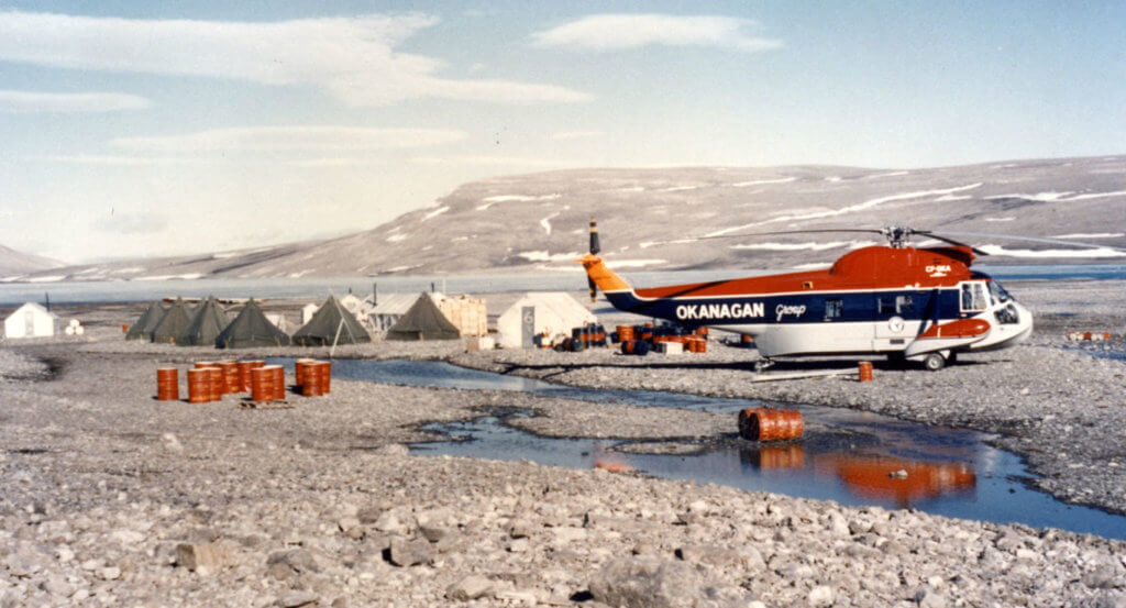 This Sikorsky S-62A, CF-OKA, was one of the first turbine helicopters purchased by Okanagan Helicopters. Here we see it at a government camp project on Devon Island in Canada's Far North in 1961. Department of National Defence Photo