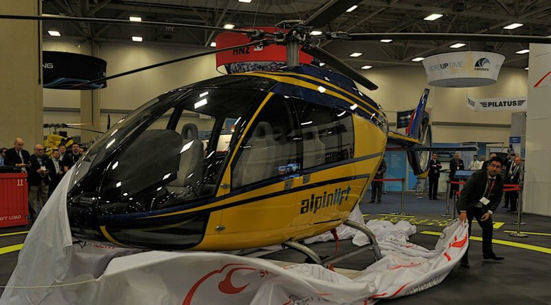 Alpinlift Helikopter AG recently placed an order for the Marenco Swisshelicopter SKYe SH09 during HAI Heli-Expo in Dallas, Texas. Marenco Photo