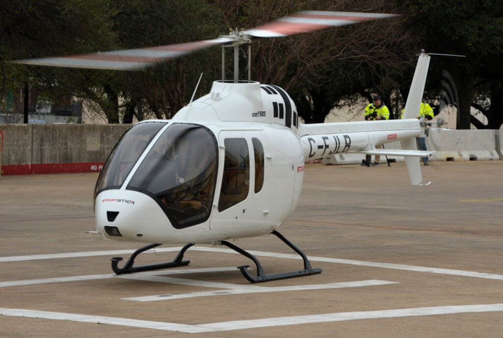 A Bell 505 Jet Ranger X arrives at HAI Heli-Expo 2017 in Dallas. Honeywell's latest helicopter purchase outlook reports strong demand for light single-engine models such as the Bell 505, particularly in North America.