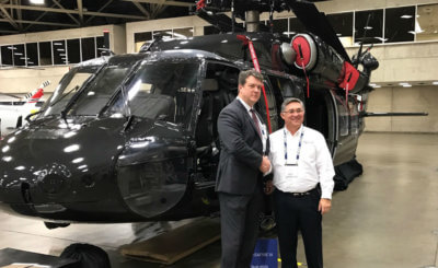 Bob Caldwell, president and CEO, International Defense and Aerospace Group and Richard Enderle, CEO, Arista Aviation. Arista Aviation Photo