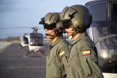 Pilots standing at attention
