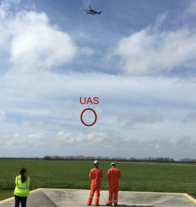 The collaborative effort, which was the result of comprehensive planning and safety analysis, was a critical first step in the evolution of a process proving that unmanned aerial systems and manned helicopters can operate safely in the same airspace. Sky-Futures Photo