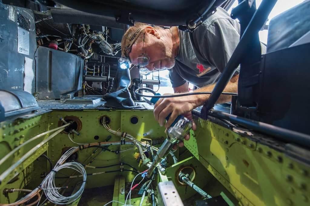 Senior maintenance technician Doug Boody joined Firehawk last year after 38 years with Sikorsky's Black Hawk program.