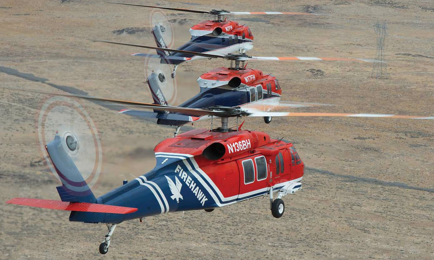 Three of Firehawk's hardworking firefighters: N2FH is an S-70C and once served as the Sultan of Brunei's personal aircraft; N17FH was acquired from the BEST program as a UH-60A that Firehawk upgraded to an A+ (the first in the civil world) with two T700-GE-701D engines; and N136BH is an S-70A that once served the Government of Hong Kong.