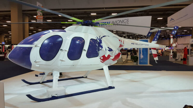 MD 6XX rests on show floor at Heli-Expo