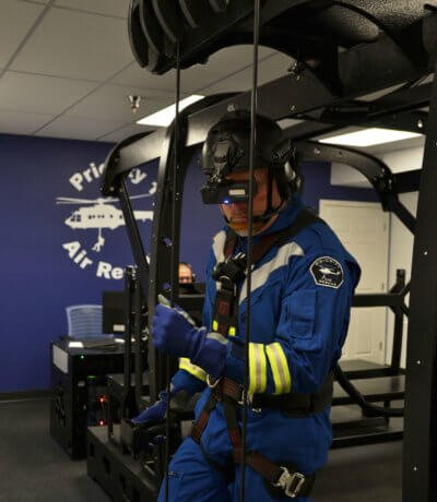 P1AR created this smaller transportable version of its virtual hoist simulator specifically for Heli-Expo 2017, to present its advanced mission training capabilities and provide a compact replica of the synthetic devices that are currently employed at Search and Rescue Tactical Training Academies located in Mesa, Arizona, and Nimes-Garons, France. P1AR Photo