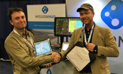 Rhino Air CEO Eric Rudzinski receiving the MISSIONMAP-equipped Panasonic Toughbooks at Heli Expo 2017, in Dallas, Texas. MISSIONMAP Photo