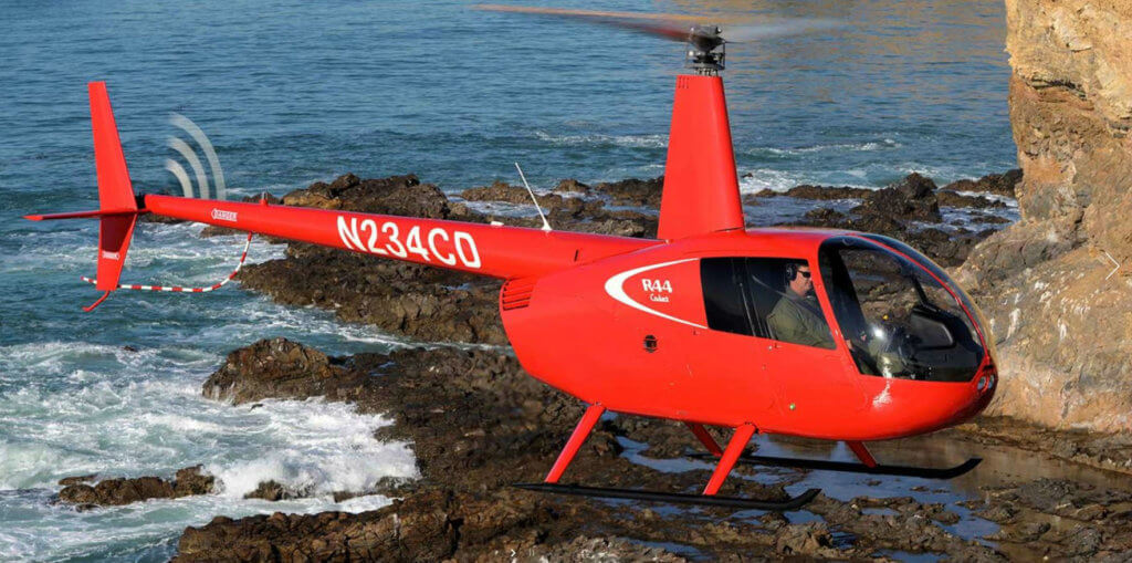 Robinson R44 in flight