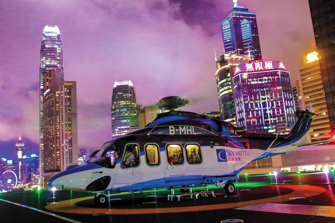 Every day, Sky Shuttle Helicopters flies 20 scheduled round-trip flights between Hong Kong and Macau, and three flights between Macau and Shenzhen, with a fleet of Leonardo AW139s. The Leonardo AW139 was introduced in April 2009 to make the inaugural flight from the new Sky Shuttle Heliport in Hong Kong. Chi Yin Liao Photo