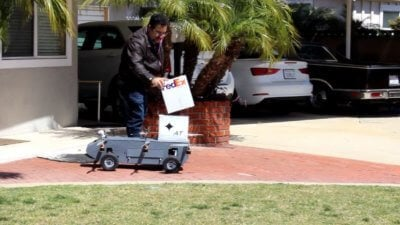 The Panther package delivery robot can uniquely drive like a car and fly like a helicopter while carrying payloads. AT Photo