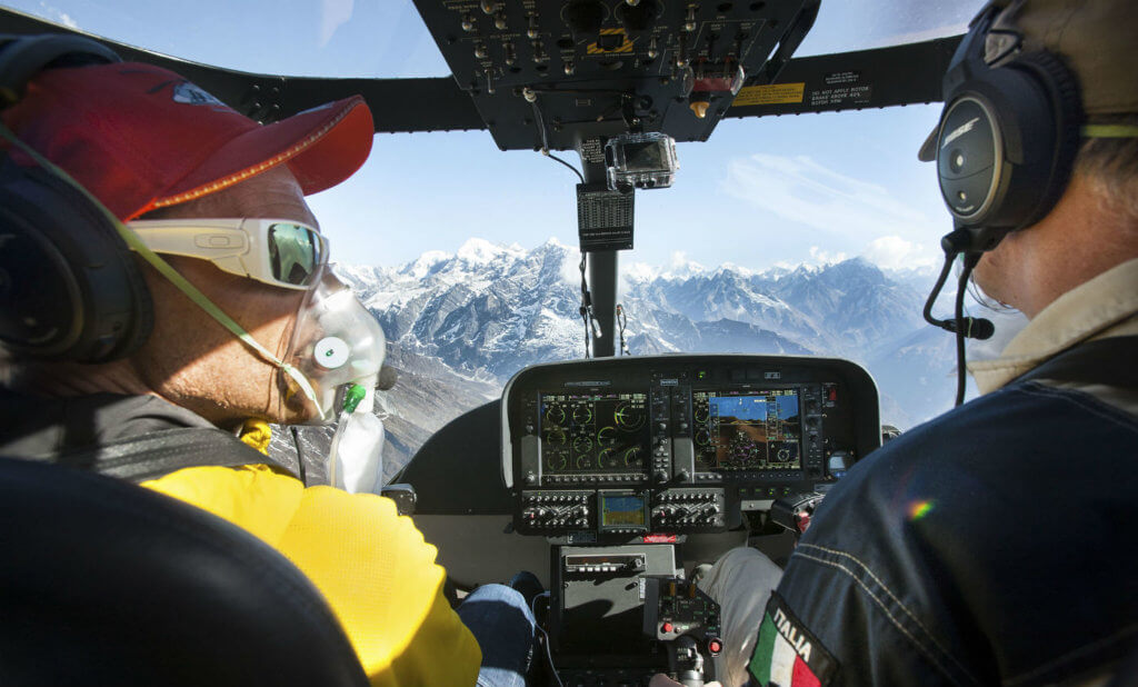 Piloted by Ezio Oliva (right) and famed alpinist Simone Moro (left), the aircraft spent three weeks in the Himalayan country, testing the performance of the aircraft at high altitudes and demonstrating its performance in a variety of missions to a range of operators. Leonardo Photos