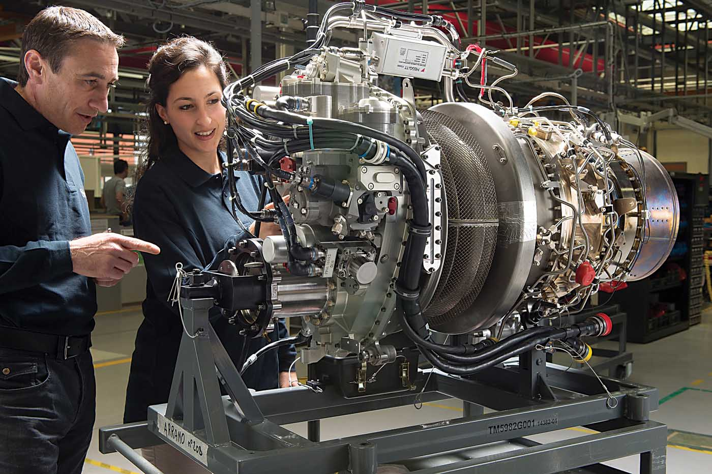 Engineers at Safran Helicopter Engines take a look at the Arrano -- the manufacturer's new 1,100- to 1,300-horsepower engine that powers the Airbus H160. Safran uses selective laser melting to create the Arrano's fuel injector nozzles. Safran Photo