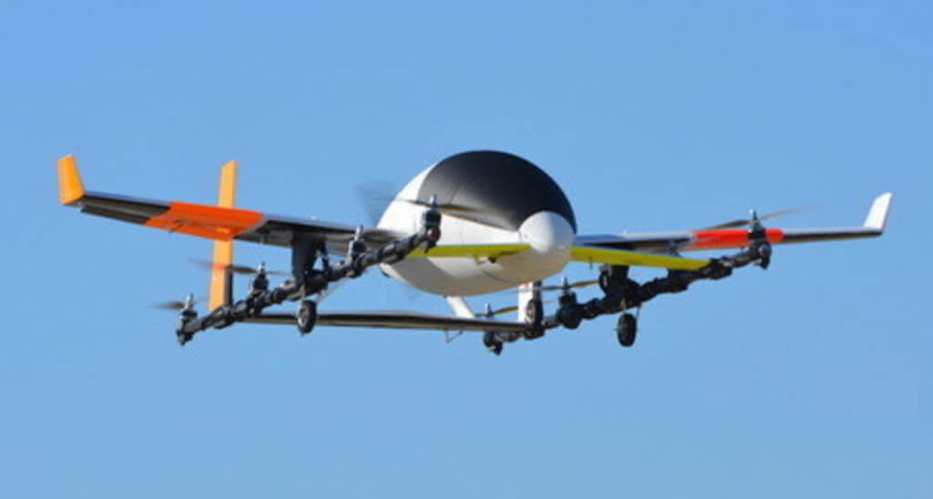 A subscale version of Aurora Flight Science's e-VTOL concept aircraft performed its first flight on April 20, 2017. Aurora Flight Science Photo