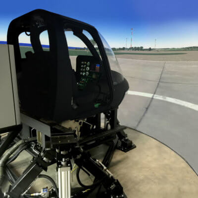 Built by Frasca International Inc., the new Level 7 FTD will provide helicopter pilot trainees and instructors with the most up-to-date flight training simulator available. KF Aerospace Photo