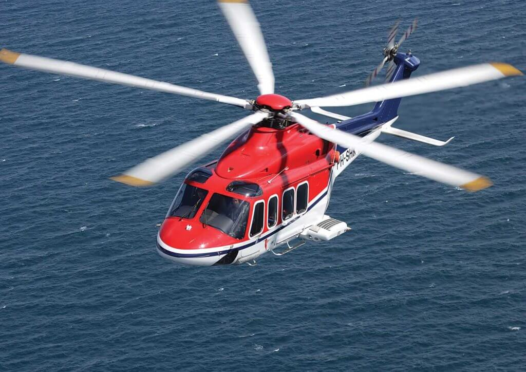 A Dutch-registered CHC Helicopter Leonardo AW139 flies over the North Sea. The operator plans to make the AW139 one of the core types in its future fleet. Simon Pryor Photo