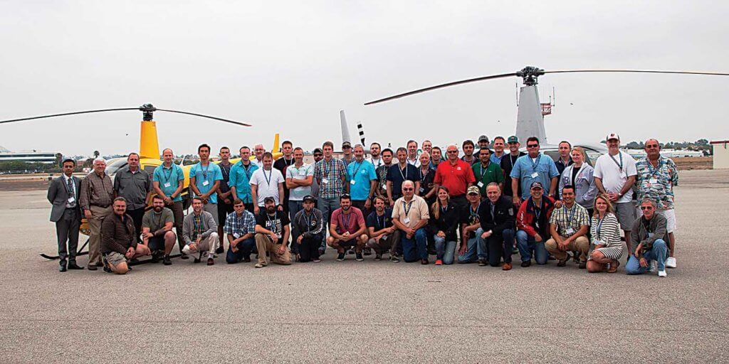 The author is joined by classmates during his recent participation in the Robinson Helicopter Company Safety Course. Launched in 1982 as a once-a-month program with 12 students in a class, it now runs twice as often with a typical class size of 48.
