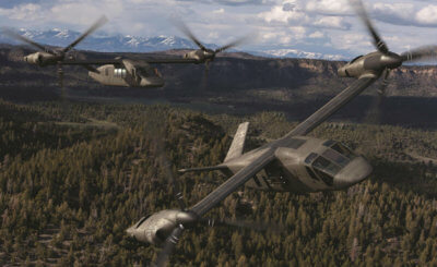 The Bell V-247 tiltrotor is a Group 5 unmanned aerial system that will combine the vertical lift capability of a helicopter with the speed and range of a conventional fixed-wing aircraft. Bell Photo