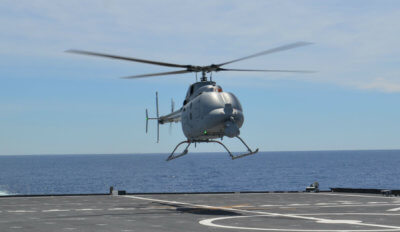 The MQ-8C Fire Scout unmanned helicopter conducts first test flight from USS Montgomery (LCS-8) April 5 off the coast of California. U.S. Navy Photo