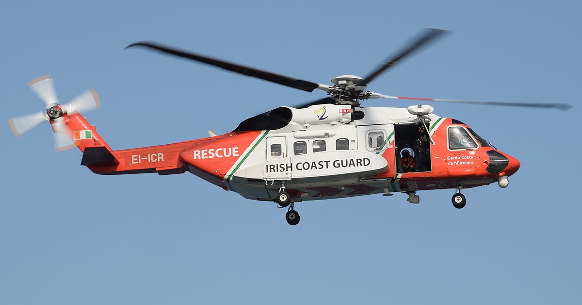 "EI-ICR, a Sikorsky S-92 operated by CHC Ireland for the Irish Coast Guard under the call sign ""Rescue 116,"" crashed on March 14, killing all four crewmembers on board. Declan Keegan / Creative Commons Photo"