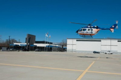 Since the Vertiport Chicago opened in April of 2015, it has provided a much needed safe and secure landing site for Flight For Life and other air medical helicopters bringing critically ill patients to Chicago hospitals. Vertiport Chicago Photo