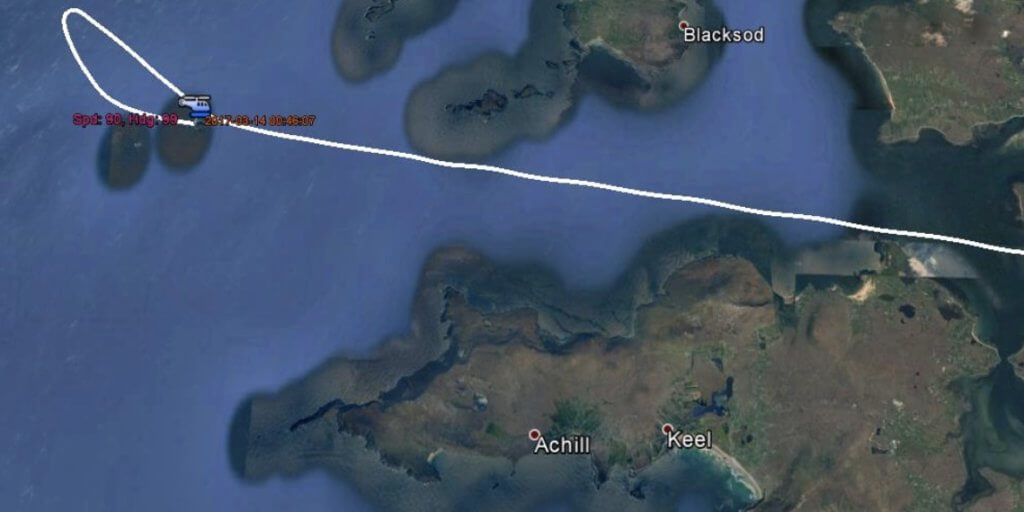 Automatic Identification System (AIS) track data from Rescue 116 is here overlaid onto a Google Earth map to show how the helicopter approached from the west, and then descended and turned east for the arrival to Blacksod before impacting terrain at Black Rock. AAIU Image