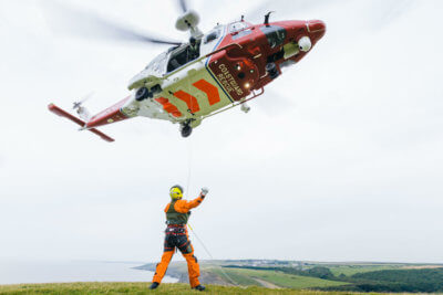 The new £20 million AW189 helicopters are painted in red and white HM Coastguard colors, and operated by Bristow Helicopters Limited on behalf of HM Coastguard. The Coastguard base at Lee-on-Solent is the first in the U.K. to fly this new model of helicopter for SAR missions. Bristow Photo