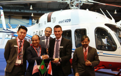 Bell Helicopter and Meghna Aviation celebrate the signing at Rotorcraft Asia. Bell Photo