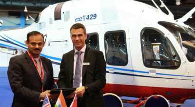 Tata Steel and Bell Helicopter celebrate the recent signing during Rotorcraft Asia. Bell Photo