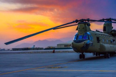 A Boeing CH-47F waiting to fly in Afghanistan. Photo submitted by Jeffrey Kennedy