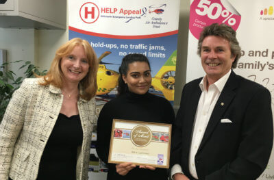 This latest donation takes the combined total donated, by Wills & Legal Services, to £350,000. From left: Sally Abbott, HELP Appeal head of fundraising; Mahima Sultana, trainee charity liaison officer at Wills & Legal Services; and Robert Bertram, CEO HELP Appeal. HELP Appeal Photo