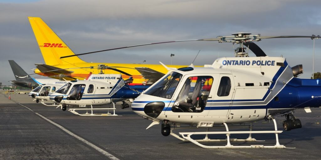 Ontario Police Department Airbus AS350 B2 and H125 helicopters at the Air Support Unit's third annual fly-in. Skip Robinson Photo