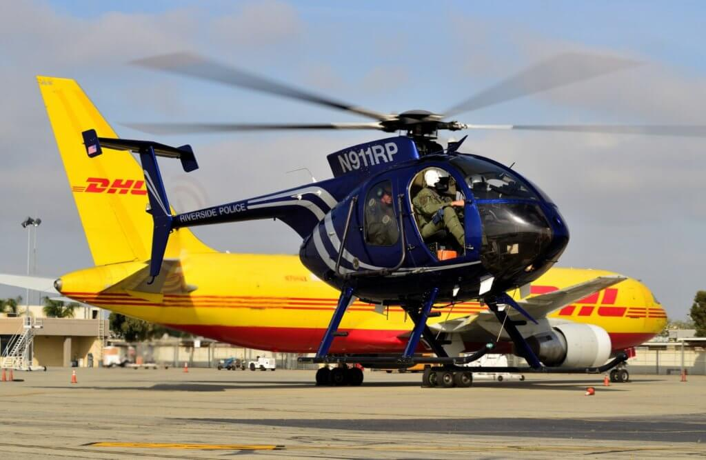 A Riverside Police Department MD 500E hovers to its landing spot at the Ontario International Airport. Skip Robinson Photo
