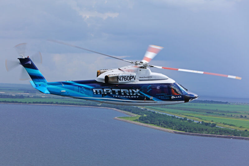 Sikorsky announced the launch of the Matrix Technology program in 2013. While it has been maturing it on two products: the Sikorsky Autonomy Research Aircraft (SARA) — a customized S-76B (pictured here), and an optionally piloted UH-60A Black Hawk, it hopes to ultimately use the technology to augment pilot operations across its product line. Sikorsky Photo