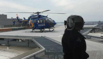 A Johns Hopkins Lifeline helicopter arrives to pick up and transport Ferdinand Hui from Baltimore, Maryland, to Washington, D.C. Johns Hopkins Medicine Photo