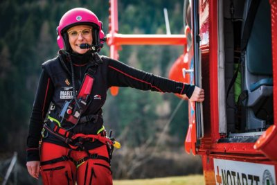 Claudia Juen, 38, is currently the only female helicopter emergency medical services crewmember in the Austrian Alps. Tomas Kika Photos