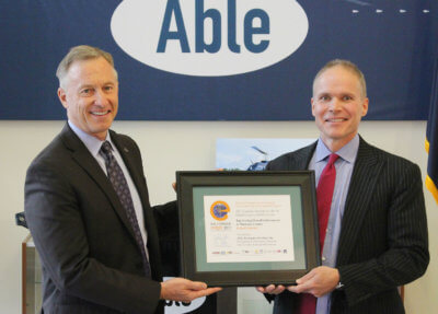 City of Mesa Mayor John Giles honored Able during a certificate presentation, held at Able's 200,000-square-foot headquarters at the Phoenix Mesa Gateway Airport in Mesa, Arizona. Able Photo