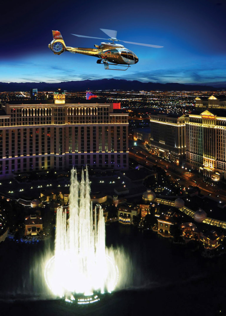 The Lucky in Love Wedding Experience will be held simultaneously inside 12 state-of-the-art helicopters while flying 800 feet over the Las Vegas Strip. Sundance Helicopters Photo