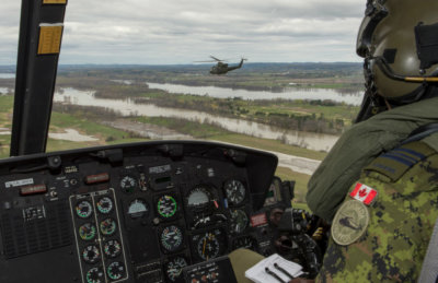 Three CH-146 Griffons from 430 Tactical Helicopter Squadron at Valcartier Base, Que., are deployed as part of the Quebec Immediate Action for Operation LENTUS on May 9, 2017. RCAF Photo