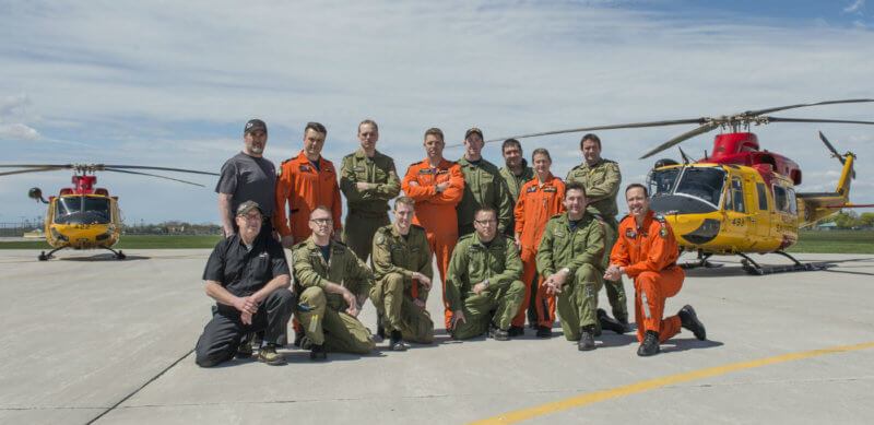 Pictured here are the members of the three 424 Transport and Rescue Squadron search-and-rescue (SAR) crews and support staff that took part in the Algonquin Park SAR effort from May 8 to 9, 2017. RCAf Photo