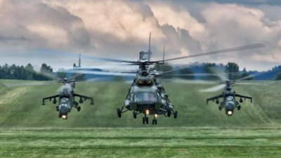 Two Mi-8 helicopters perform a training run in Europe, flanked by two Mi-24 Hinds. Photo submitted by Jakub Świst