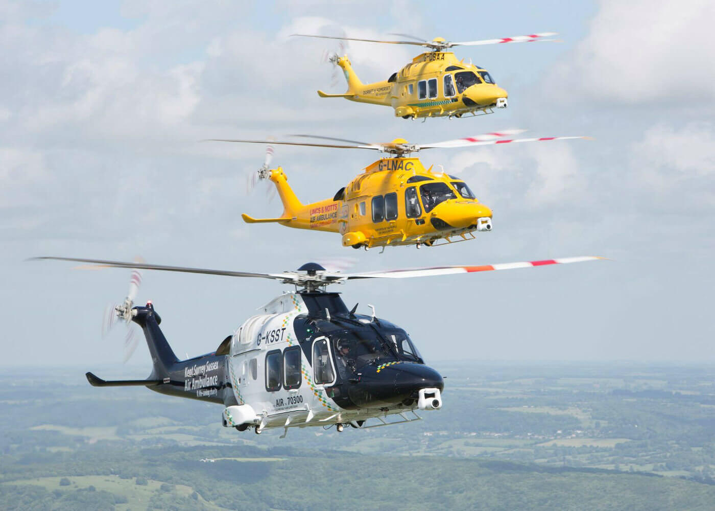 Three Leonardo AW169s are captured flying in formation. Photo submitted by Simon Pryor