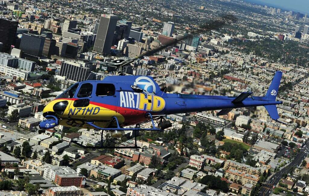 Air 7 HD banks right toward Wilshire Blvd in the heart of Los Angeles.