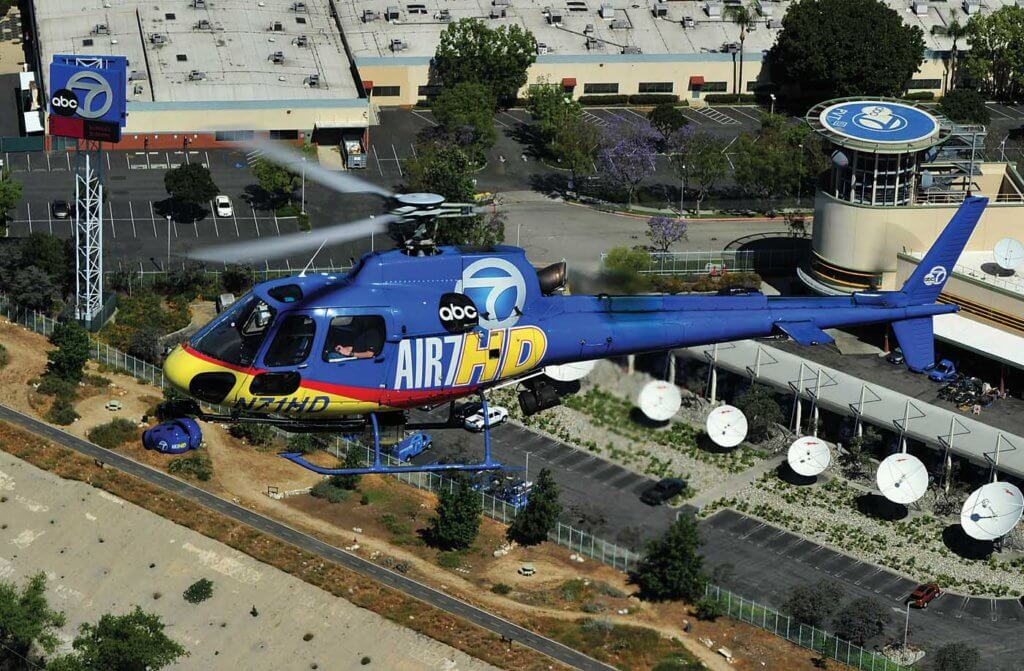 Air 7 HD passes the ABC7 studio, located near Los Angeles. The studio has its own helipad if it is ever needed.