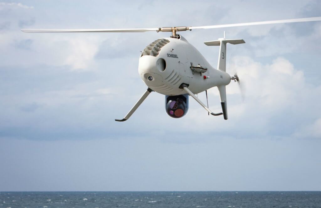 During the flight demonstrations in the Western Mediterranean, the Camcopter S-100 conducted around 30 takeoff and landings within a total of 15 flight hours during day and night. An L3 Wescam's MX-10 was used to transmit daylight and infrared data. Schiebel Photo