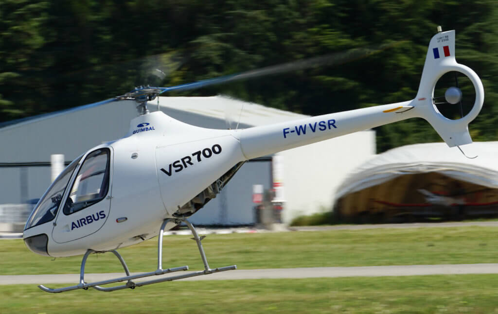A light military rotary-wing tactical unmanned aerial vehicle, the VSR700 is being developed jointly by Airbus Helicopters and Helicopteres Guimbal, the original manufacturer of the civil-certified Cabri G2 helicopter from which the VSR700 is derived. Airbus Photo