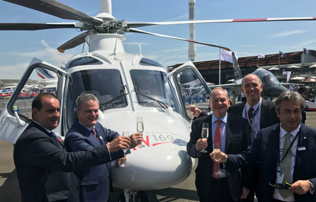 Celebrating LCI's order for nine Leonardo helicopters are (from left): Carlo Gualdaroni, chief business office, Leonardo Helicopters; Daniele Romiti, managing director, Leonardo Helicopters; Crispin Maunder, executive chairman, LCI; Michael Platt, chief executive officer, LCI; and Emilio Dalmasso, commercial business unit, Leonardo Helicopters.