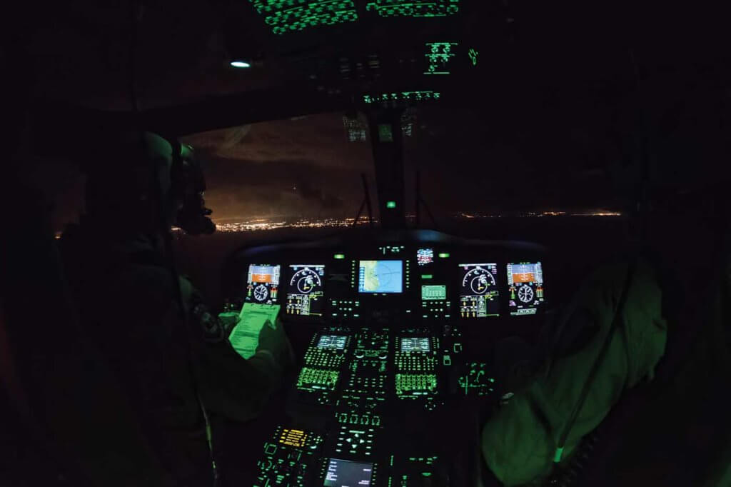 The Guardia Costiera's AW139s are fully equipped for night vision goggle operations.