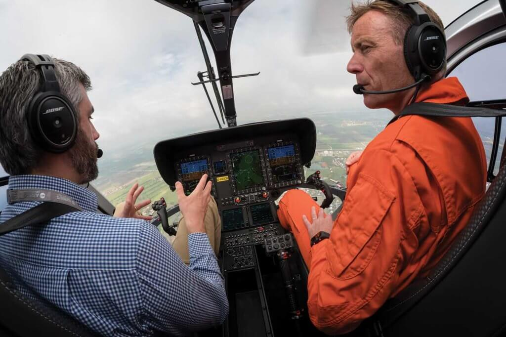 Hands-off flying as Airbus Helicopters experimental test pilot Alexander Neuhaus demonstrates the four-axis autopilot. Lloyd Horgan Photo
