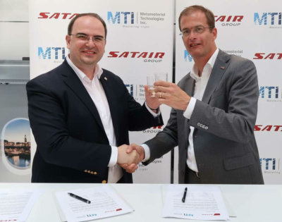 George Palikaras, founder and CEO of Metamaterial Technologies Inc. (left) and Bart Reijnen, CEO of Satair Group, celebrate the recent agreement. Metamaterial Technologies Inc. Photo